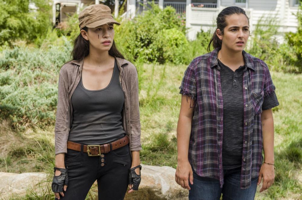 Alanna Masterson as Tara Chambler, Christian Serratos as Rosita Espinosa- The Walking Dead _ Season 7, Episode 9 - Photo Credit: Gene Page/AMC