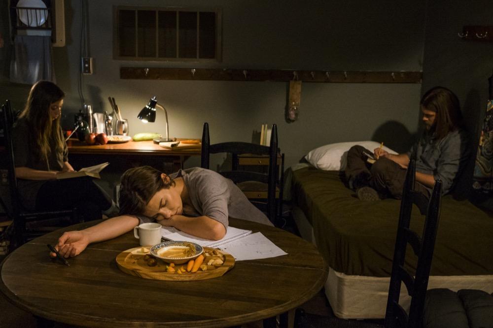 Lauren Cohan as Maggie Greene; Katelyn Nacon as Enid; Tom Payne as Paul 'Jesus' Rovia- The Walking Dead _ Season 7, Episode 13 - Photo Credit: Gene Page/AMC