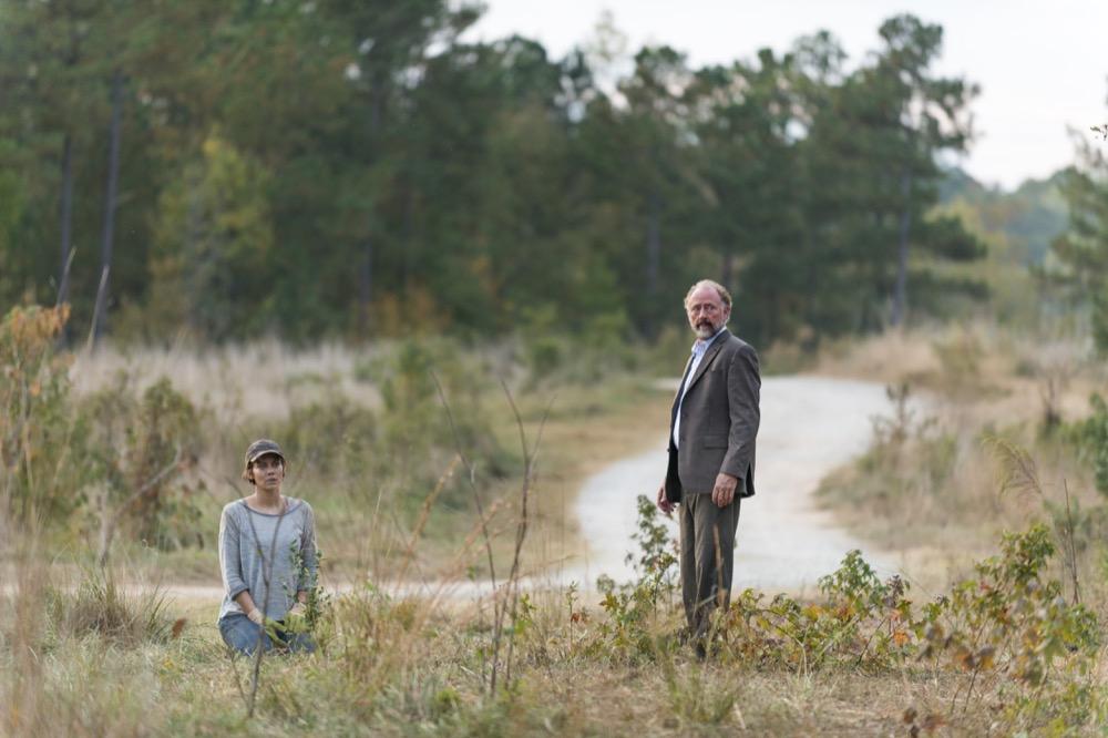 Lauren Cohan as Maggie Greene, Xander Berkeley as Gregory- The Walking Dead _ Season 7, Episode 15 - Photo Credit: Gene Page/AMC