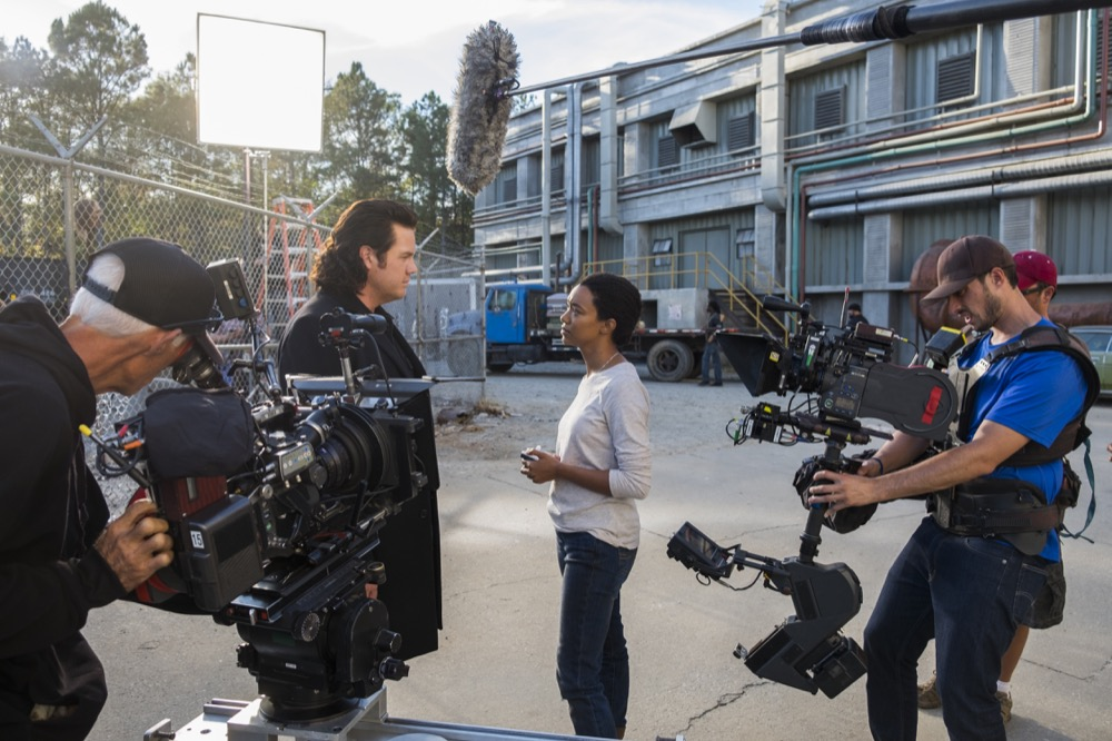 BTS, Josh McDermitt as Dr. Eugene Porter, Sonequa Martin-Green as Sasha Williams, A Camera Operator Stepehn Campbell- The Walking Dead _ Season 7, Episode 16 - Photo Credit: Gene Page/AMC