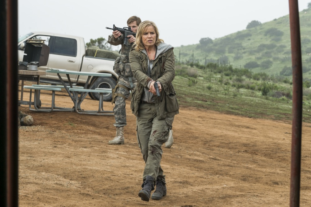 Kim Dickens as Madison Clark, Justin Deeley as Mike Trimbol - Fear the Walking Dead _ Season 3, Episode 5 - Photo Credit: Richard Foreman, Jr/AMC