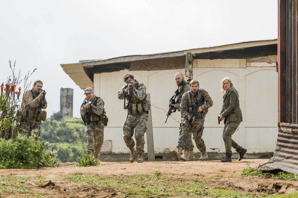 Kim Dickens as Madison Clark, Daniel Sharman as Troy Otto, Michael William Freeman as Blake Sarno, Justin Deeley as Mike Trimbol, Matt Lasky as Coop - Fear the Walking Dead _ Season 3, Episode 5 - Photo Credit: Richard Foreman, Jr/AMC