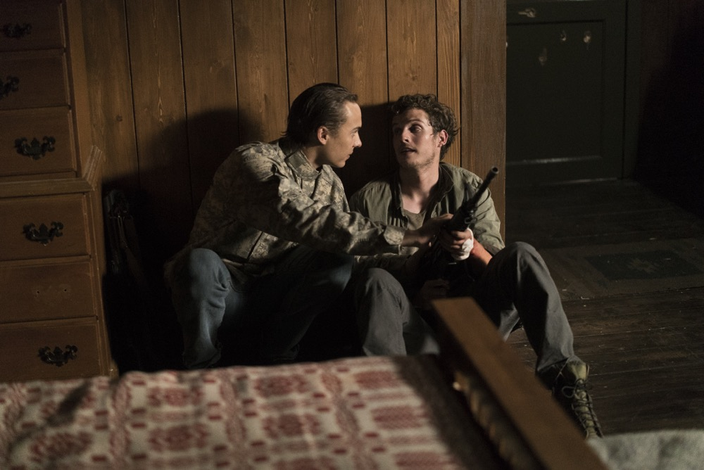 Frank Dillane as Nick Clark, Daniel Sharman as Troy Otto - Fear the Walking Dead _ Season 3, Episode 9 - Photo Credit: Richard Foreman, Jr/AMC