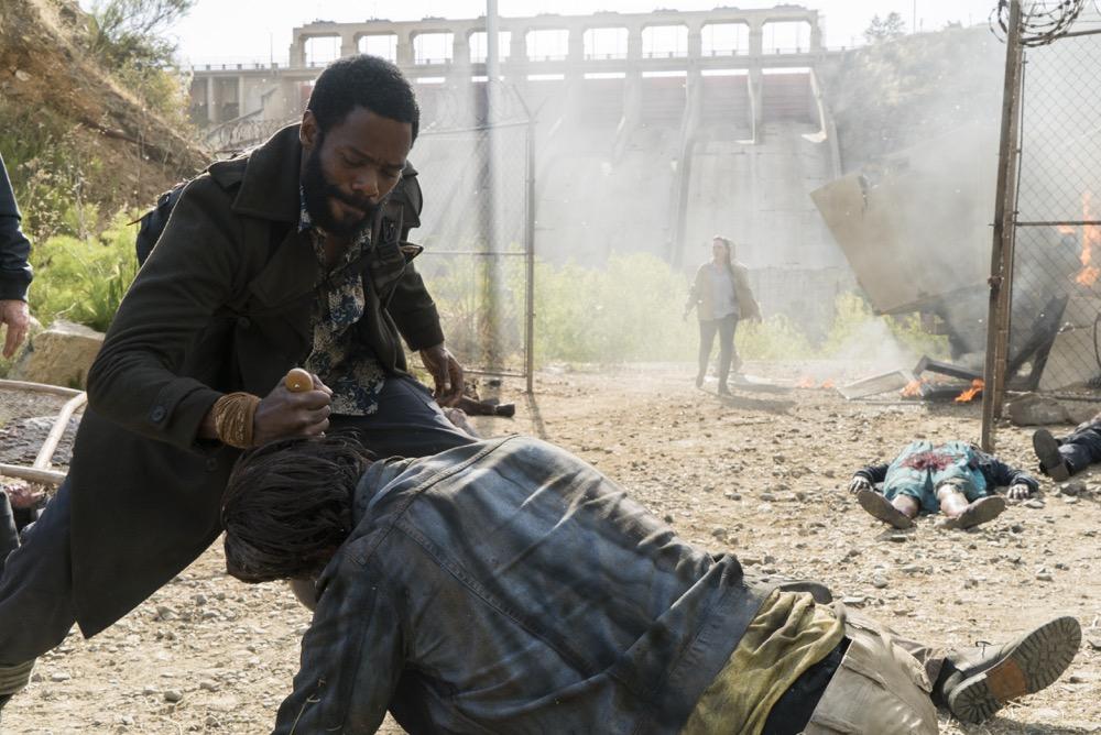Colman Domingo as Victor Strand, Lisandra Tena as Lola Guerrero- Fear the Walking Dead _ Season 3, Episode 11 - Photo Credit: Richard Foreman, Jr/AMC
