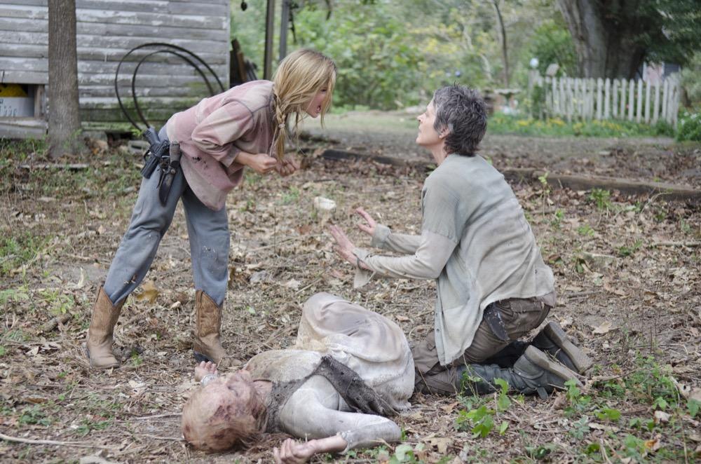Lizzie (Brighton Sharbino), Carol (Melissa Suzanne McBride) and Walker - The Walking Dead _ Season 4, Episode 14 - Photo Credit: Gene Page/AMC