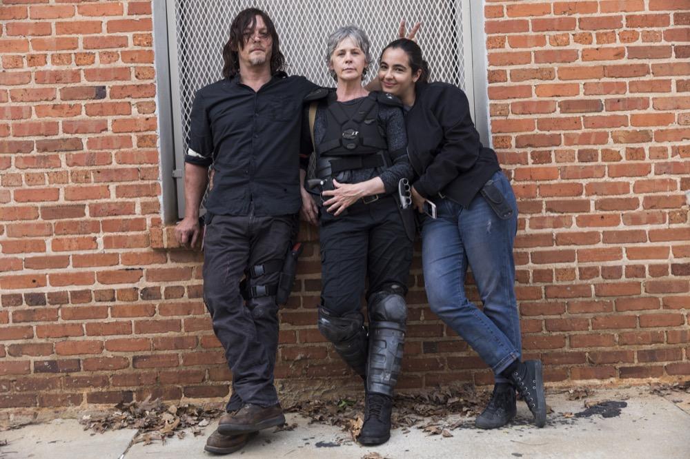 Norman Reedus as Daryl Dixon, Melissa McBride as Carol Peletier, Alanna Masterson as Tara Chambler- The Walking Dead _ Season 8, Episode 1 - Photo Credit: Jackson Lee Davis/AMC