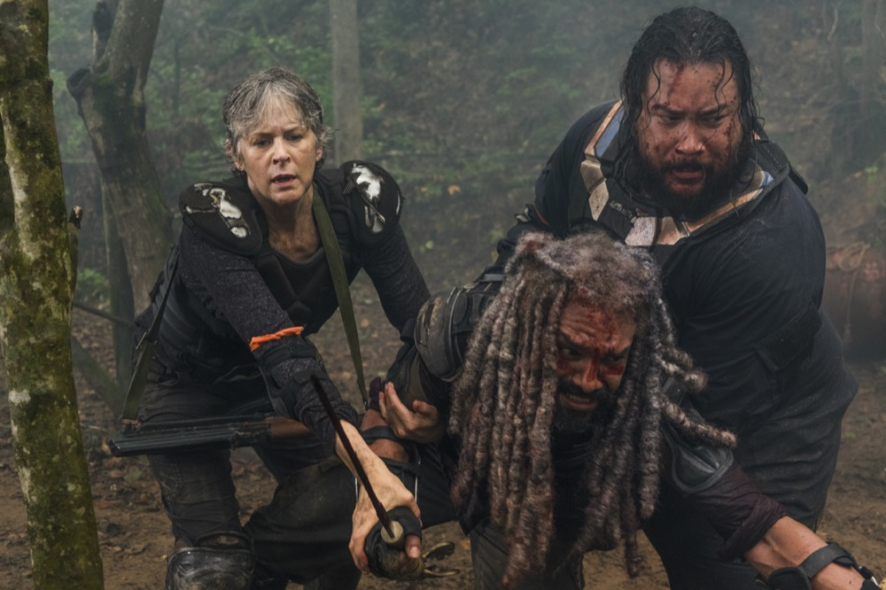 Khary Payton as Ezekiel, Melissa McBride as Carol Peletier, Cooper Andrews as Jerry - The Walking Dead _ Season 8, Episode 4 - Photo Credit: Gene Page/AMC