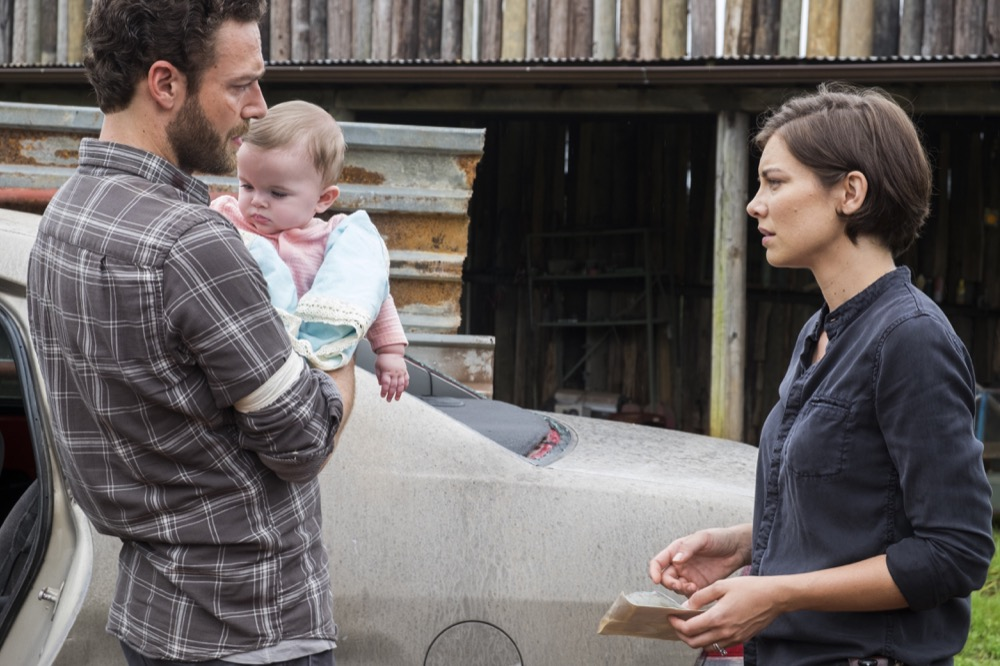 Ross Marquand as Aaron, Lauren Cohan as Maggie Greene - The Walking Dead _ Season 8, Episode 6 - Photo Credit: Gene Page/AMC
