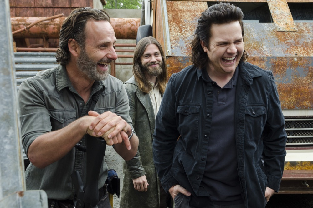 Andrew Lincoln as Rick Grimes, Tom Payne as Paul 'Jesus' Rovia, Josh McDermitt as Dr. Eugene Porter- The Walking Dead _ Season 8, Episode 1 - Photo Credit: Gene Page/AMC