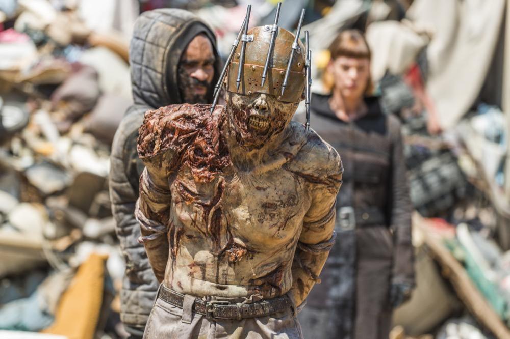 George Quinones as Pole Scavenger, Lance Herota as Pole Walker, Pollyanna McIntosh as Jadis - The Walking Dead _ Season 8, Episode 7 - Photo Credit: Gene Page/AMC