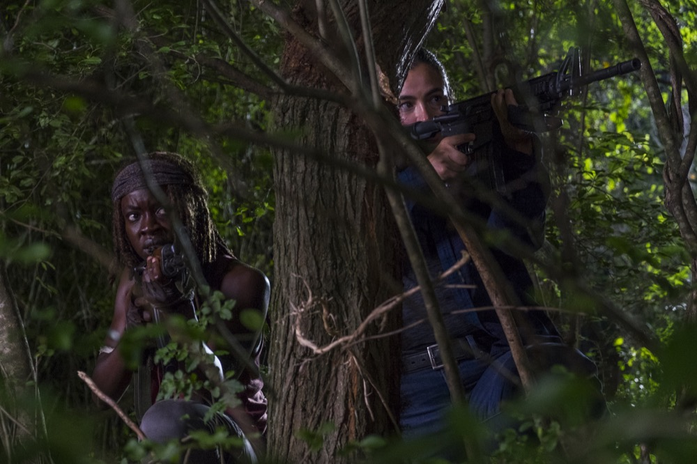 Alanna Masterson as Tara Chambler, Danai Gurira as Michonne - The Walking Dead _ Season 8, Episode 8 - Photo Credit: Gene Page/AMC