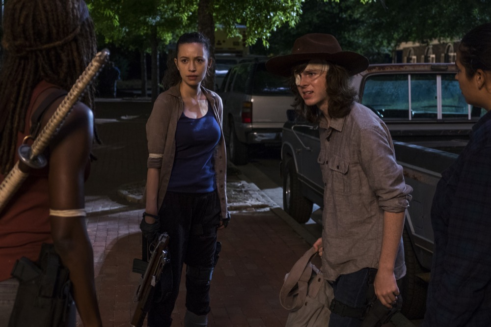 Danai Gurira as Michonne, Christian Serratos as Rosita Espinosa, Alanna Masterson as Tara Chambler, Chandler Riggs as Carl Grimes - The Walking Dead _ Season 8, Episode 8 - Photo Credit: Gene Page/AMC