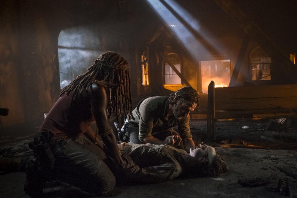 Andrew Lincoln as Rick Grimes, Danai Gurira as Michonne, Chandler Riggs as Carl Grimes - The Walking Dead _ Season 8, Episode 9 - Photo Credit: Gene Page/AMC