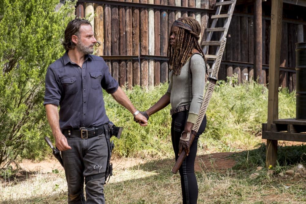 Andrew Lincoln as Rick Grimes, Danai Gurira as Michonne - The Walking Dead _ Season 8, Episode 12 - Photo Credit: Gene Page/AMC