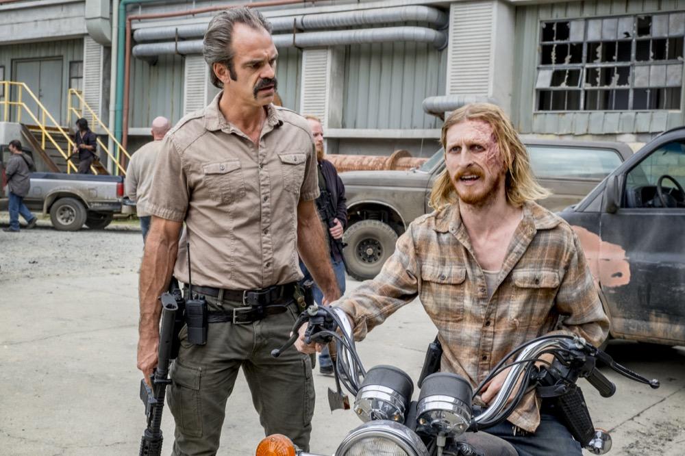 Steven Ogg as Simon, Austin Amelio as Dwight - The Walking Dead _ Season 8, Episode 12 - Photo Credit: Gene Page/AMC