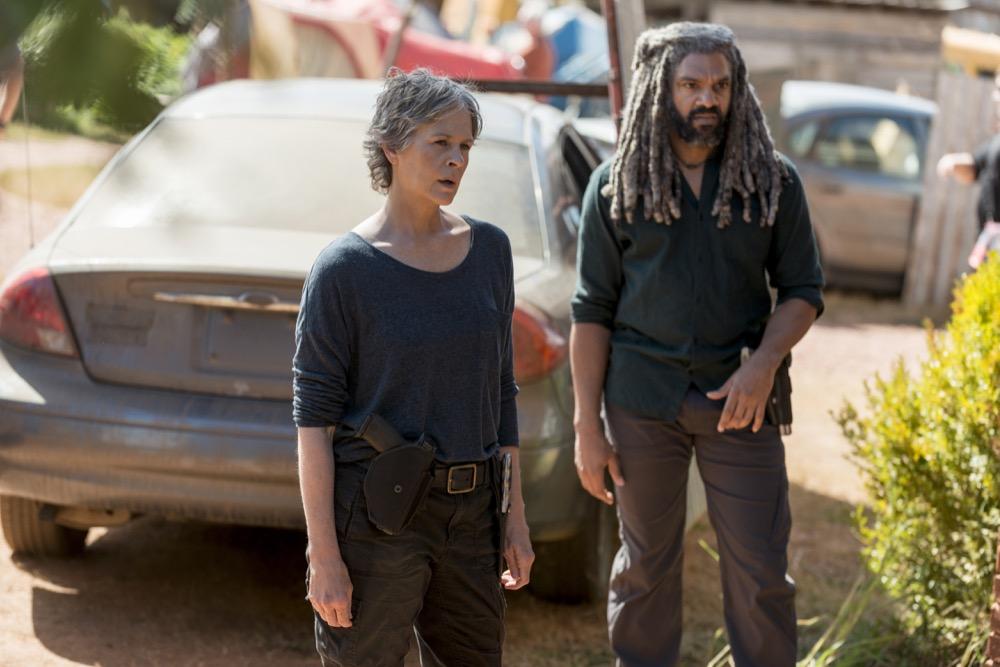Melissa McBride as Carol Peletier, Khary Payton as Ezekiel - The Walking Dead _ Season 8, Episode 13 - Photo Credit: Gene Page/AMC