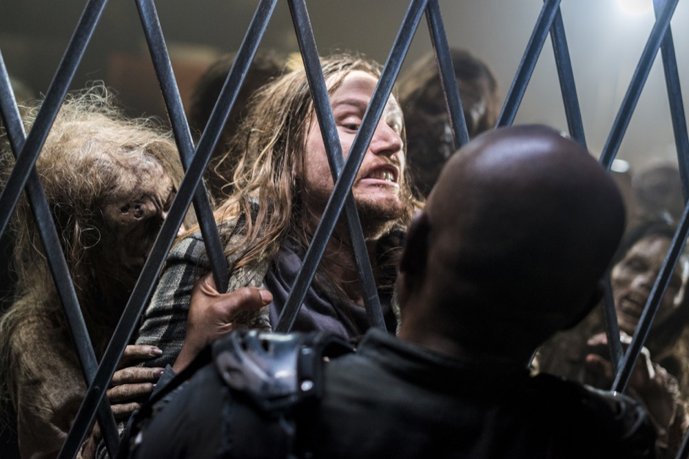 Joshua Mikel as Jared, Lennie James as Morgan Jones - The Walking Dead _ Season 8, Episode 14 - Photo Credit: Gene Page/AMC