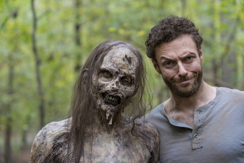 BTS, Ross Marquand as Aaron - The Walking Dead _ Season 8, Episode 15 - Photo Credit: Gene Page/AMC