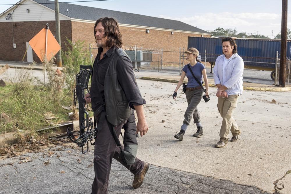 Norman Reedus as Daryl Dixon, Christian Serratos as Rosita Espinosa, Josh McDermitt as Dr. Eugene Porter - The Walking Dead _ Season 8, Episode 15 - Photo Credit: Gene Page/AMC