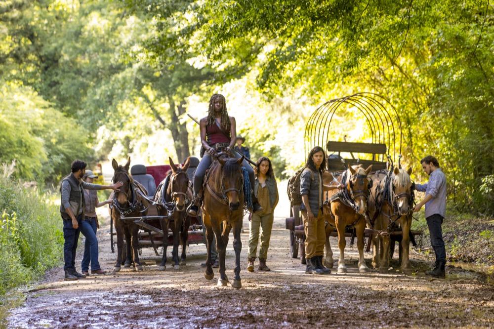 Danai Gurira as Michonne, Sydney Park as Cyndie, Callan McAuliffe as Alden- The Walking Dead _ Season 9, Episode 1 - Photo Credit: Jackson Lee Davis/AMC