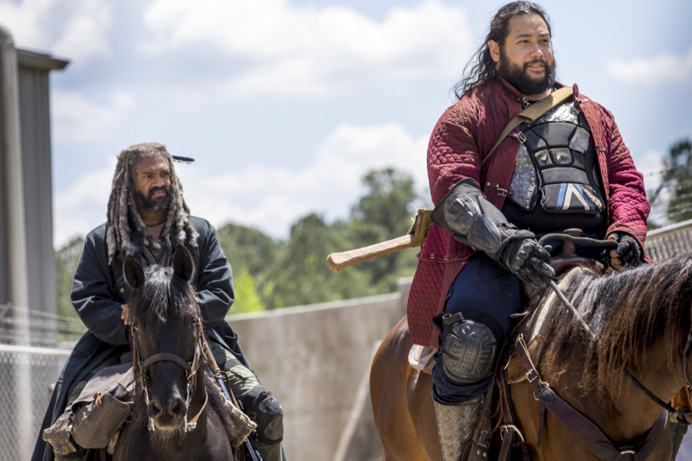 Khary Payton as Ezekiel, Cooper Andrews as Jerry - The Walking Dead _ Season 9, Episode 1 - Photo Credit: Jackson Lee Davis/AMC
