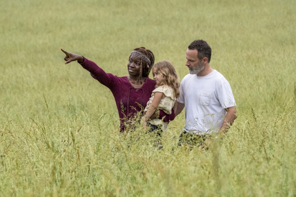 Andrew Lincoln as Rick Grimes, Danai Gurira as Michonne, Chloe Garcia as Judith - The Walking Dead _ Season 9, Episode 1 - Photo Credit: Jackson Lee Davis/AMC