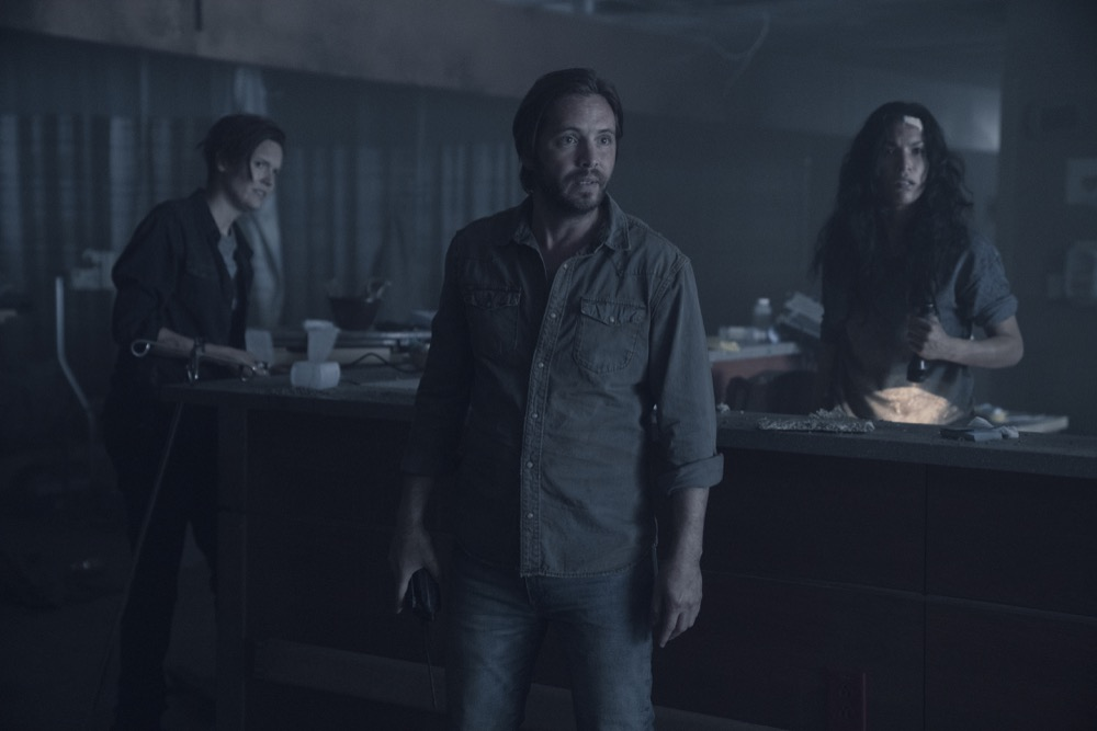 Maggie Grace as Althea, Aaron Stanford as Jim, Danay Garcia as Luciana - Fear the Walking Dead _ Season 4, Episode 14 - Photo Credit: Ryan Green/AMC