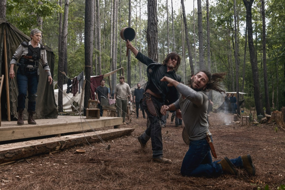 Norman Reedus as Daryl Dixon, Melissa McBride as Carol Peletier, Zach McGowan as Justin- The Walking Dead _ Season 9, Episode 2 - Photo Credit: Jackson Lee Davis/AMC